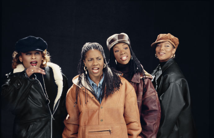 "Yo-Yo, M.C. Lyte, Brandy, and Queen Latifah film an ""I Wanna Be Down"" remix video in New York City, 1994."